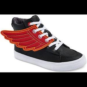 NWOB Cat & Jack Black Winged High Top Shoe